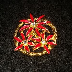 VTG Poinsettia gold tone  & red Christmas brooch